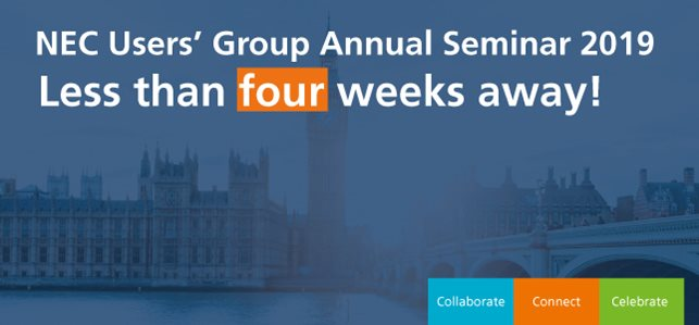 Less than 4 weeks until NEC Users' Group Annual Seminar